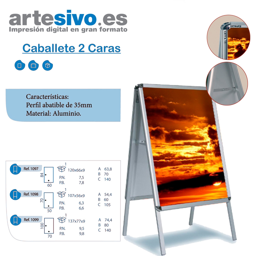 140de2211 CABALLETE DOBLE CARA DE ALUMINIO - VARIAS MEDIDAS - Artesivo.es