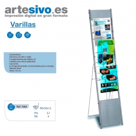 PORTAFOLLETOS DESMONTABLE DE VARILLAS - TAMAÑO A4 - ALTO 145